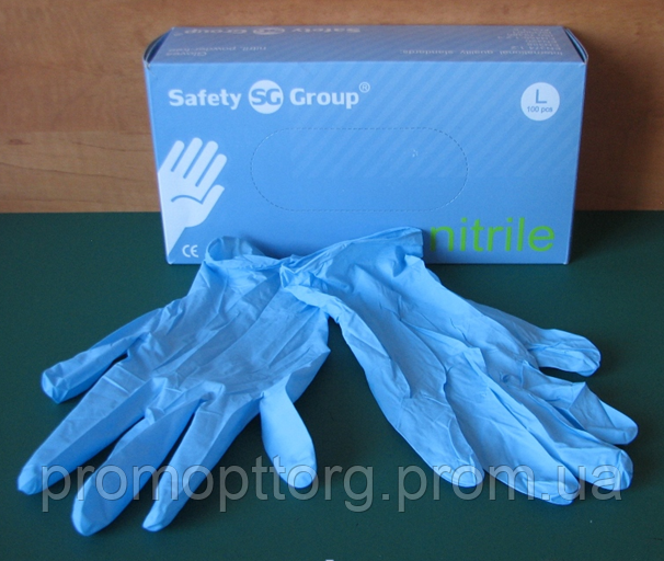 Перчатки голубого цвета из нитрила неопудренные, Размер: L PRC /50-0
