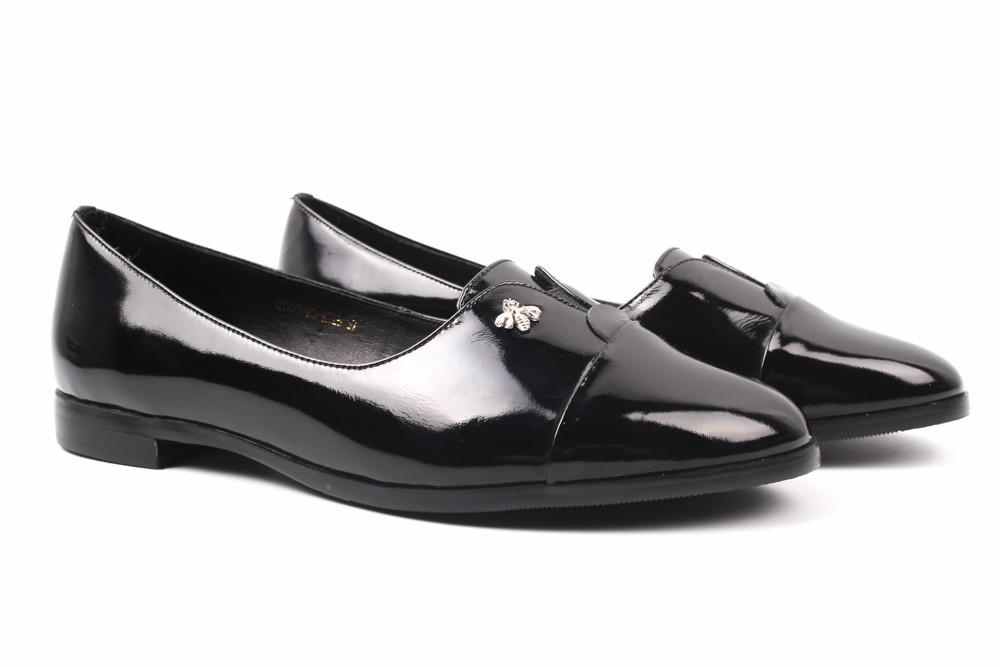 Туфли женские Belorddini натуральная лаковая кожа, цвет черный (каблук, стильные, комфорт)
