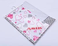 Сменная детская постель Asik Серо-малиновые сердца с серым горошком 3 предмета (С-0037)