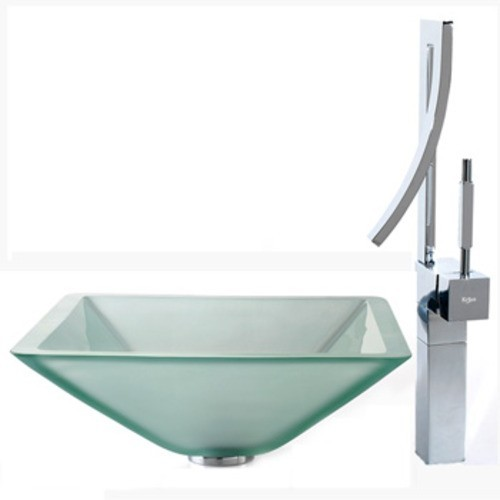 Kомплект для ванной комнаты C-GVS-901FR-19mm-1200CH Square Frosted, Kraus (USA)