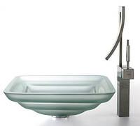 Kомплект для ванной комнаты C-GVS-930FR-19mm-1200CH Square Frosted, Kraus (USA)