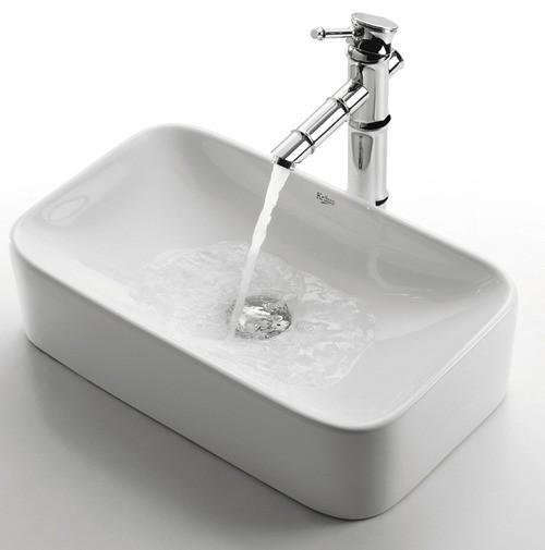 Kомплект для ванной комнаты C-KCV-122-1300CH White Ceramic, Kraus (USA)