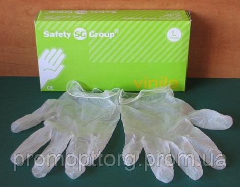 Перчатки белго цвета из винила неопудренные, Размер: L,Упаковка: 100 шт. PRC /0-08