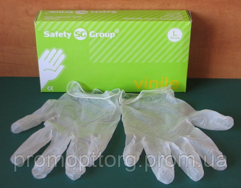 Перчатки белго цвета из винила неопудренные, Размер: L, PRC /30-0