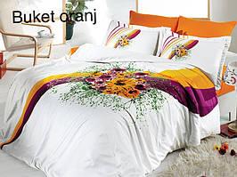 Постельное белье сатин First Choice (евро-размер) № Buket Oranj