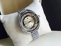 Женские часы реплика Сваровски серебро+серебристый циферблат