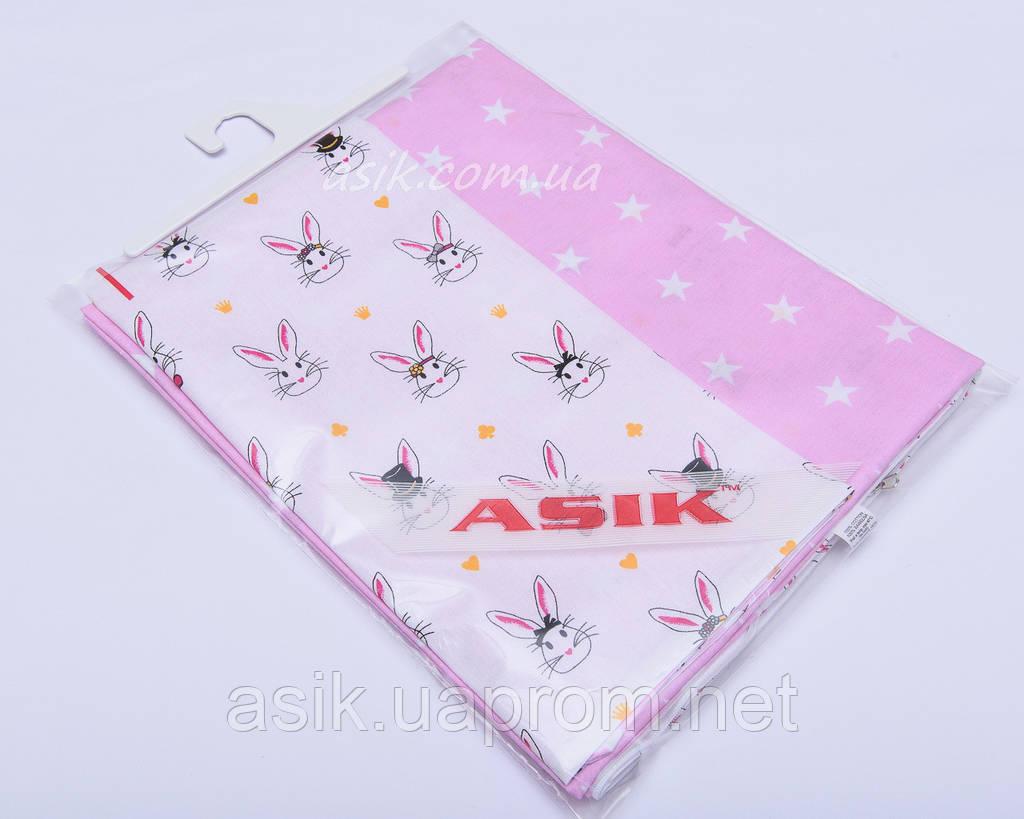 Наволочка и пододеяльник Asik Кролики на белом и звёзды на розовом 2 предмета (2-001)