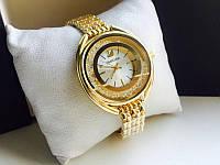 Женские часы реплика Сваровски золото+золотой циферблат