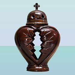 Керамическая лампадка фигурка Сердце глазурь