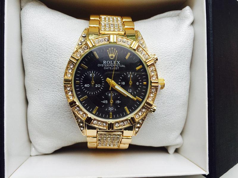 Стильные часы реплика Ролекс золото+черный циферблат
