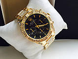 Стильные часы реплика Ролекс золото+черный циферблат, фото 3