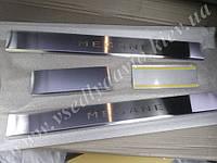 Защита порогов - накладки на пороги Renault MEGANE II хетчбэк/универсал с 2002-2009 гг. (Standart)
