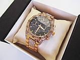 Стильные часы реплика Ролекс золото+черный циферблат, фото 5