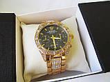 Стильные часы реплика Ролекс золото+черный циферблат, фото 9