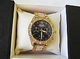 Стильные часы реплика Ролекс золото+черный циферблат, фото 10