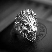 Красивое кольцо 20-21р. со львом из тибетского серебра. ЛЕВ, фото 1