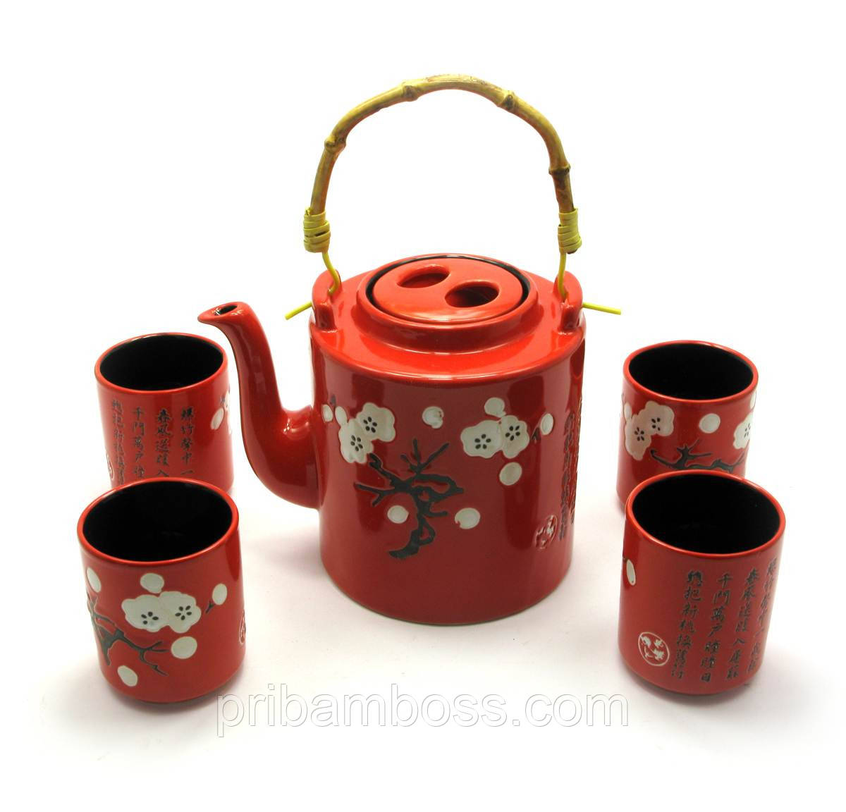 Сервиз керамический (чайник ,4 чашки)(28х16х12 см)