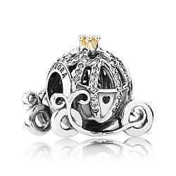 Серебряно-золотой шарм Карета Золушки Pandora , 791573CZ
