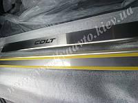 Защита порогов - накладки на пороги Mitsubishi COLT VI/VII 3-дверка с 2004-2008/2009- гг. (Standart)