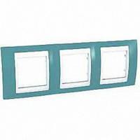 Рамка Schneider-Electric Unica Plus 3-поста синий / белый MGU6.006.873