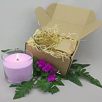 Подарочный набор сиреневая насыпная свеча 10 см