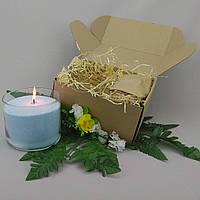 Подарочный набор голубая насыпная свеча 10 см