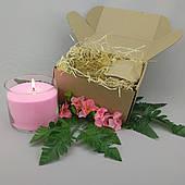 Подарочный набор розовая насыпная свеча 10 см