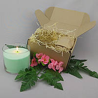 Подарочный набор салатовая насыпная свеча 10 см
