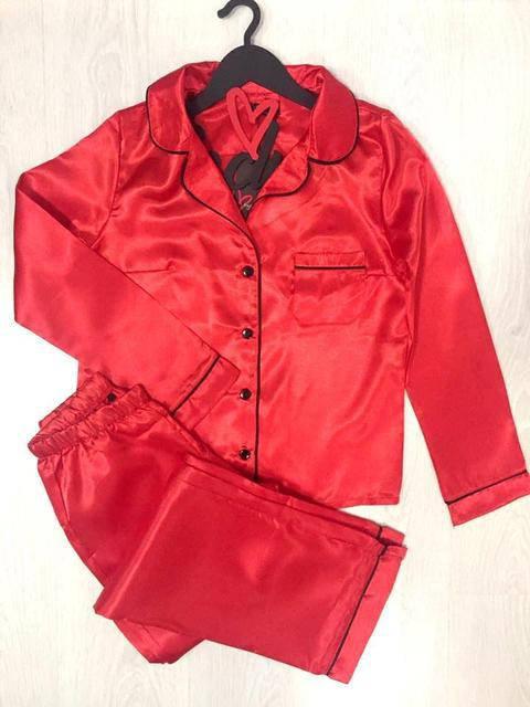 Женская пижама,Красный молодежный комплект штаны и рубашка из атласа