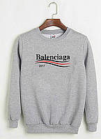 Свитшот Balenciaga 2017 серый с логотипом, унисекс (мужской,женский,детский)