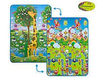 """2028016 Дитячий двосторонній килимок """"Велика жирафа та Веселощі тварин"""", 120х180 см"""
