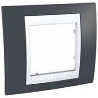 Рамка Schneider-Electric Unica Plus 1-пост серо-зелёный / белый MGU6.002.877