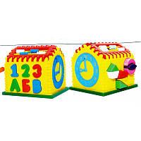 """Детский сортер """"Домик"""" с часами и счетами № 50-301, развивающая игрушка"""