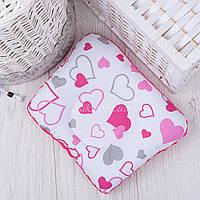 """Подушка для новорожденных с плюшем """"Серо-малиновые сердечки"""""""