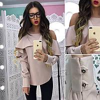 Красивая блуза с открытыми плечами и большой рюшей в расцветках АМС-1801.097(3)