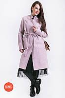 Пальто женское с карманом и брошью, фото 1