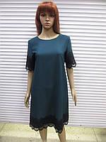814d80722960 Женское нарядное Турецкое платье темно-зеленого цвета с французским  кружевом р 42 ( наш размер