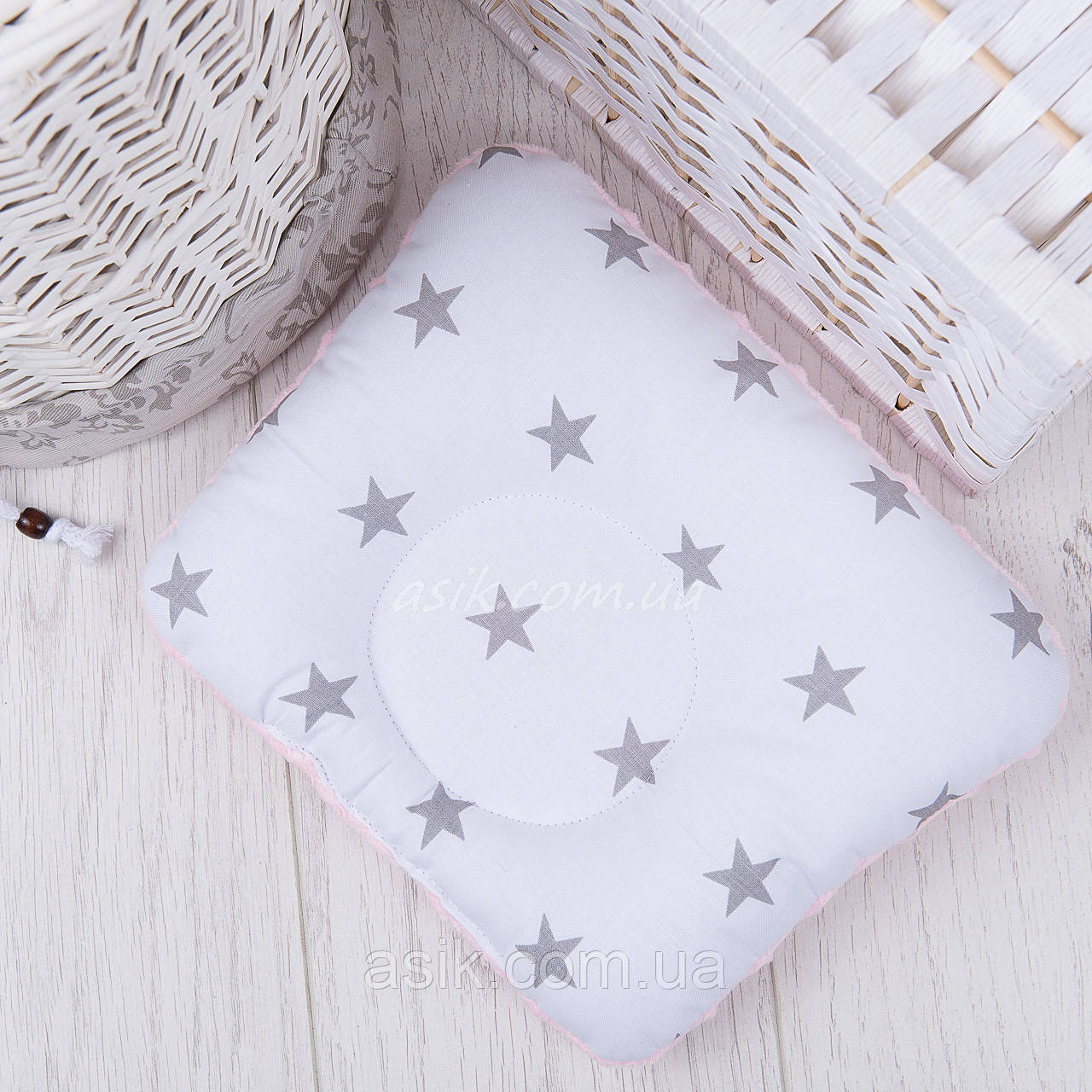 Подушка для новорожденных с плюшем, бело-розовая, с серыми звёздами на белом