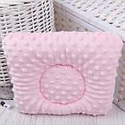 Подушка для новорожденных с плюшем, бело-розовая, с серыми звёздами на белом, фото 2
