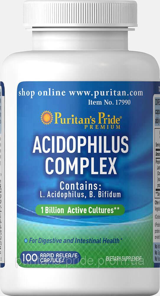 Ацидофилус Пробиотик комплекс  Puritan's Pride Probiotic Acidophilus Complex 1 billion / 100 Capsules