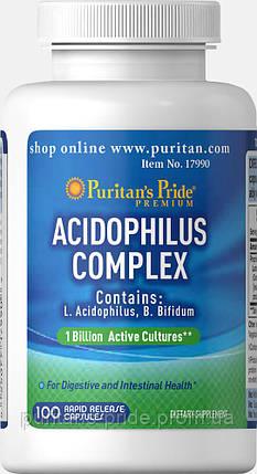 Ацидофилус Пробиотик комплекс  Puritan's Pride Probiotic Acidophilus Complex 1 billion / 100 Capsules, фото 2