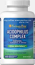 Ацидофілус Пробіотик комплекс Puritan's Pride Probiotic Acidophilus Complex 1 billion / 100 Capsules