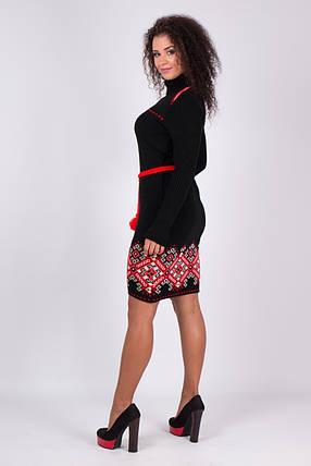 Теплые вязаные платья Иванка черный-алый, фото 2