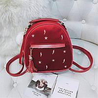 Модный маленький рюкзак женский городской. Мини рюкзак для девочки бархатный с кисточкой Бордовый, фото 1