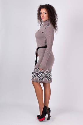 Платье теплое Иванка капучино-черный, фото 2