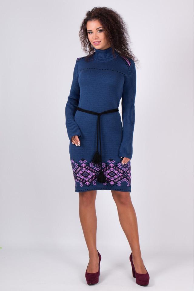 Платье теплое трикотажное Иванка джинс-сирень