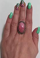 Кольцо серебряное Роза с родохрозитом и черными цирконами, фото 1