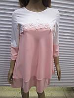 Женское нарядное бело-розовое платье производства Турции р 38 ( наш размер 44)