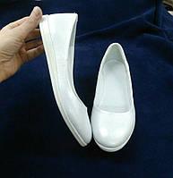 Балетки женские из натуральной кожи закругленный носочек белые Код 1314