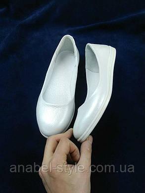 Балетки женские из натуральной кожи закругленный носочек белые Код 1314, фото 2